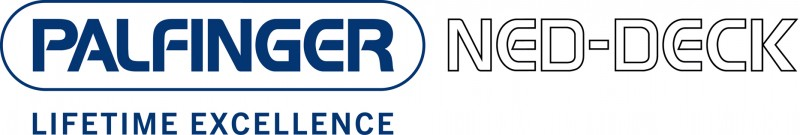 Doppellogo PALFINGER NED-DECK, Business Unit Launch and Recovery Systems